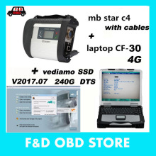Best 100925 MB STAR C4 OBD2 car diagnostic tool sd c4+military Laptop CF30+ V2017 07 WIN7/Vediamo/DTS/240G software SSD for Benz