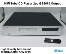HIFI Tube CD Player with 2pc GE5670 High Quality Movement 192KHz/32Bit PCM1795 Upgrade Version Black or Withe Panel 220V Audio(China)