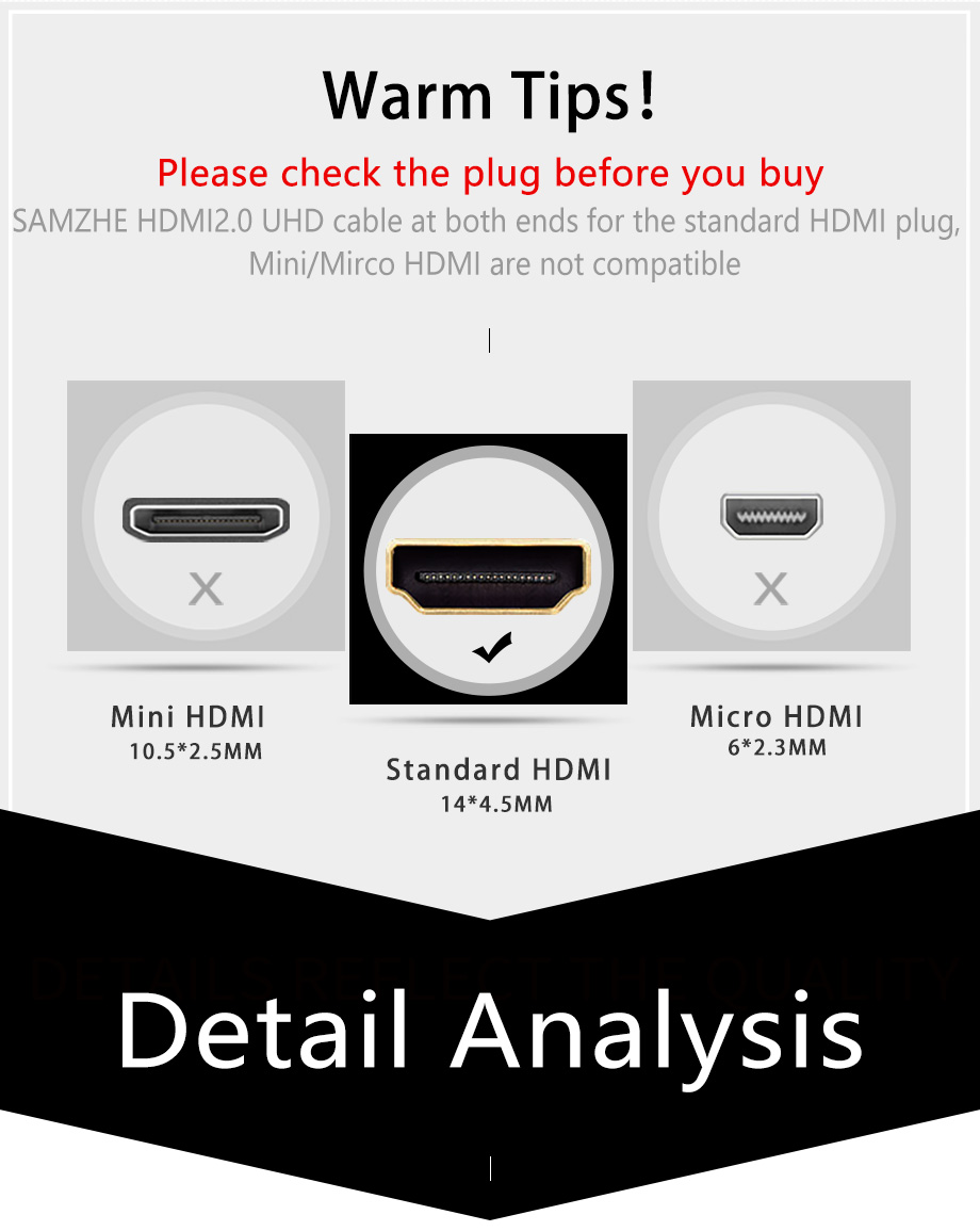 SAMZHE 4K*2K/60Hz HDMI 2.0 Cable Audio&Video Cable 32AWG HDMI UHD Cable for Projector XBox TV BOX Laptop and TV Screen