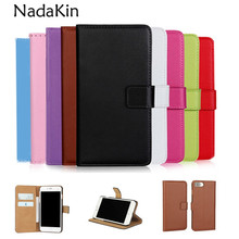 For iPhone Genuine Leather Wallet Flip Case For Apple iPhone 5 5S SE 6 6S 7 8 Plus X Real Purse Phone Bag with Card Slots(China)
