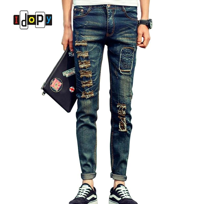2016 New Fashion Men Patchwork Jeans Skull Famous Brand Design Slim Fit Ripped Hole Denim Pants For MenÎäåæäà è àêñåññóàðû<br><br>