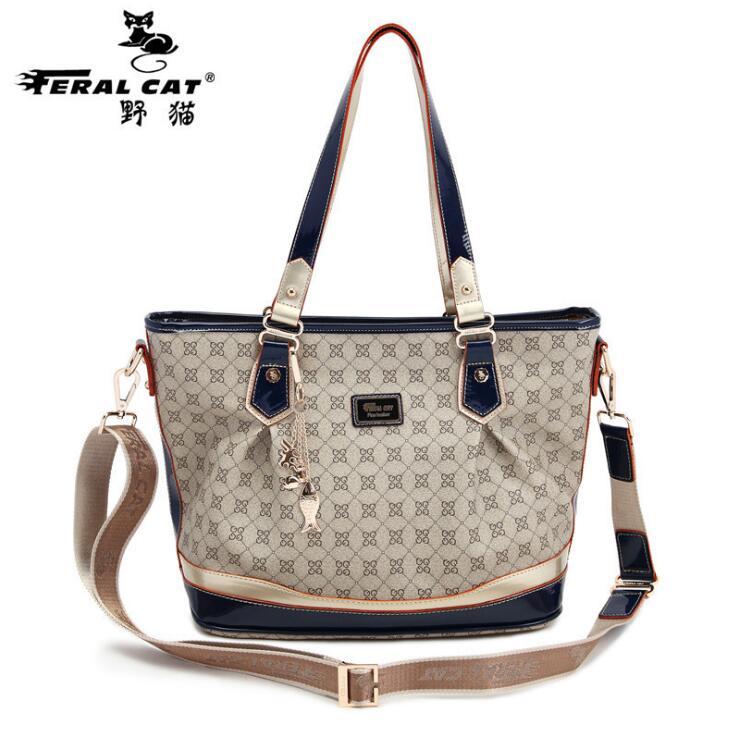 FERAL CAT Brands Women Shoulder Bags Fashion Plaid Leather Bags Famous Brands Women Casual Handy Bags Ladies Handbag New FC-3008<br><br>Aliexpress