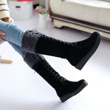 PXELENA Winter Warm Hot Sale Faux Suede Boots Womens Flat Lace Up Fur Lined Knee High Snow Boots Ladies Shoes Plus Size