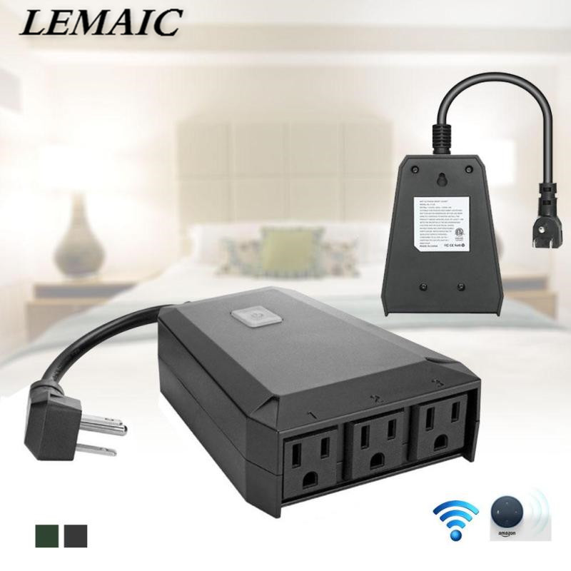 LEMAIC Wireless WiFi Outdoor Plug Indoor Socket For Smart Home Light LED Amazon Alexa voice Remote Control Outlet Switch <br>