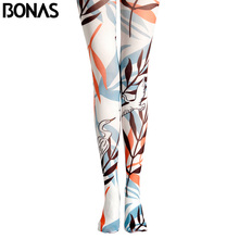 BONAS White Leaves Pantyhose Pattern Tights Legins Women Print High Waist Thick Japanese Style Pantyhose Compression Tights(China)