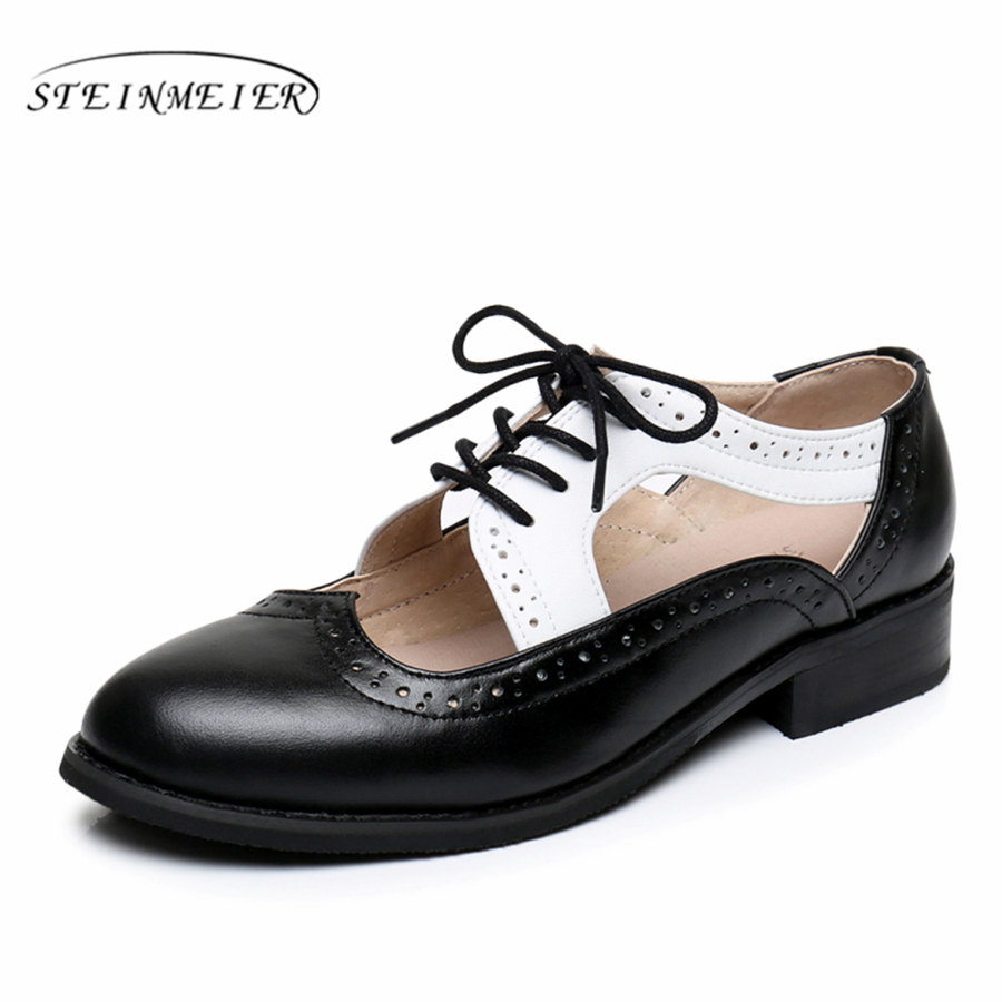 Genuine leather big woman US size 11 designer vintage flat shoes Sandals handmade black white 2017 oxford shoes for women<br>