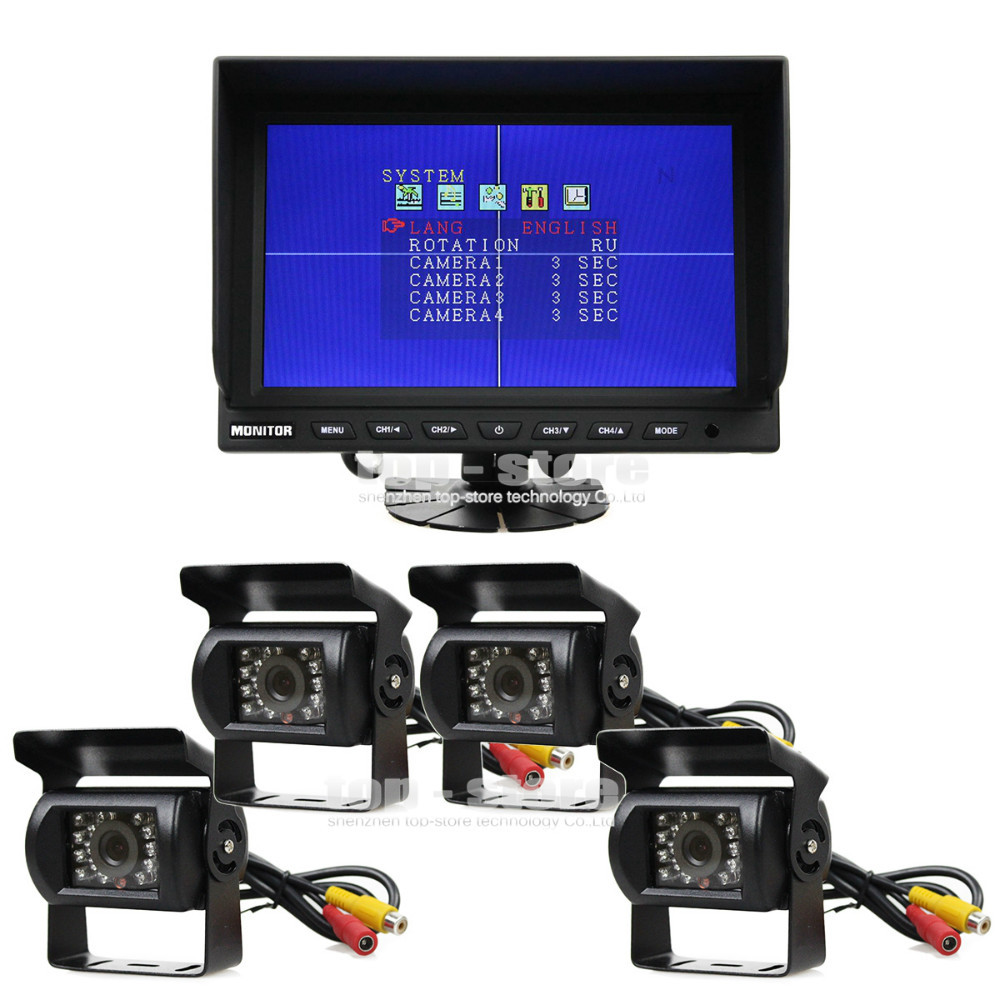 DIYSECUR 9 Inch Split Quad Display Monitor + 4 x CCD IR Night Vision Rear View Camera Waterproof Monitoring System(China)