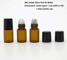 500PCS/lot 2ml roll on glass bottle, 2 cc e liquid glass vials with 2 types metal roller ball for perfume oil use wholesale