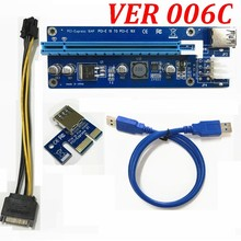 VER 006C PCI-E PCI E Express 1X to 16X graphics card Riser Extender Card cable Adapter 6 pin power Supply For Bitcoin Miner(China)