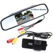 "Auto Parking Monitor Night Vision Car Rear View Camera For VW Golf MK4 MK5 MK6 Passat CC 4 With 4.3"" Car Rearview Mirror Monitor(China)"