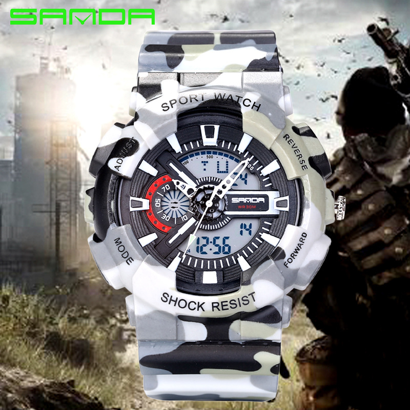 Super Sport Mens Luminous Quartz Digital Watches SANDA Luxury Brand LED Military Waterproof Wristwatches Army Sports Watches<br><br>Aliexpress