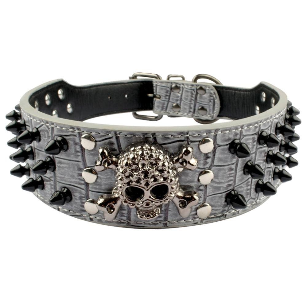 Pitbull Spiked Collars Superior and Durable D-ring easy-to combine leather leashes | DogsMall-International