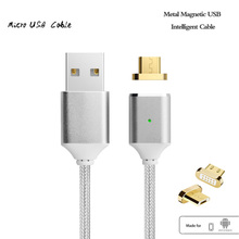 Magnetic Cable,Nylon Braided Micro USB Magnectic Cable Data Charge Cable Magnet Fast Charging Cable for Xiaomi,Samsung,Android(China)