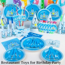 TOFOCOTOFOCO 90pcs/set Blue Kitchen Toys Blue Crown Print Restaurant Toys for Kid's Birthday Party Price and Princess Style(China)