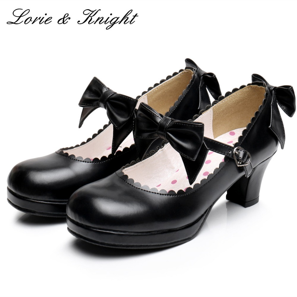 Japanese Lolita Cosplay Princess Shoes PU Leather Sweet Bow Strap Square Medium Heel Mary Jane Shoes<br>