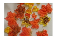 50Pcs Artificial Fall Colored Silk Maple Leaves -Table Scatters For Fall Weddings & Autumn Parties AE01493