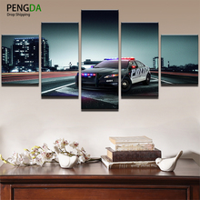 PENGDA Home Decoration Pictures Vintage Modular Painting Frame Prints Poster 5 Panels Movie Police Car Game Canvas Wall Painting
