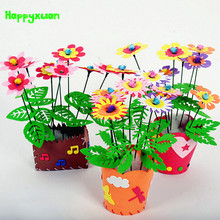 Happyxuan Handmade EVA Flower Pot Toy Kids DIY Craft Kits Creative Kindergarten Educational Children Girls 3-6 years Series LNQ4(China)