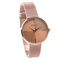 Hot DWG Watch Ladies Rose Gold Quartz Watch Wrist Watches for Women Metal Bracelet Rhinestone Dial Ladies Wristwatch With a Box