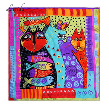 LESIDA Pure Silk Women Scarf Rainbow Cats Printing Echarpes Foulards Femme 2017 Square Bandana Neck Scarves Hijab 53*53CM ZS5045(China)