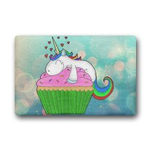 Personalized Cupcake Unicorn Doormat Home Decoration (23.6 X 15.7 Inch)(China)