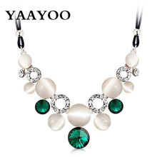 YAAYOO 2017 Cute Women Blue/Green Colors Opal Crystal Pendant 4 Colors Necklace Statement Jewelry For Lady Gift Party NL502(China)