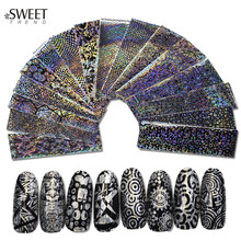 16pcs Nail Art Glue Transfer Foil Black Geometric Pattern Nail Stickers Sexy Adhesive Nail Tips Decals Manicure Decor LALF01-16
