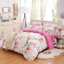 Home Bedding 4Pcs Bird Language Flowers Quilt Cover Fashion Bed Sets Lattice Style Very Soft Good Quality Queen size(China)