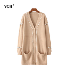 2017 Autumn New Pattern Suit-dress Korean Fashion Bind Rope Pocket Long Fund Easy Knitting Cardigan Sweater Loose Coat A1910
