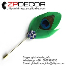 Leading Supplier ZPDECOR Cheap Sale Uniqual Handcraft Kelly Green Peacock Feather Wedding Brooch
