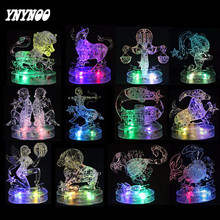 YNYNOO 3D Crystal Zodiac Signs Puzzle Flashing LED Light Kids Twelve Constellations Horoscope Jigsaw Puzzle Toy Educational Toys(China)