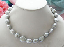 Genuine Natural 9-10mm Silver Gray Baroque Freshwater Pearl Necklace 18""