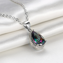 Women's Silver Plated AAA Cubic Zircon Water Drop Pendant Necklace Chain Fashion Fine Jewelry Gifts Collection For Women