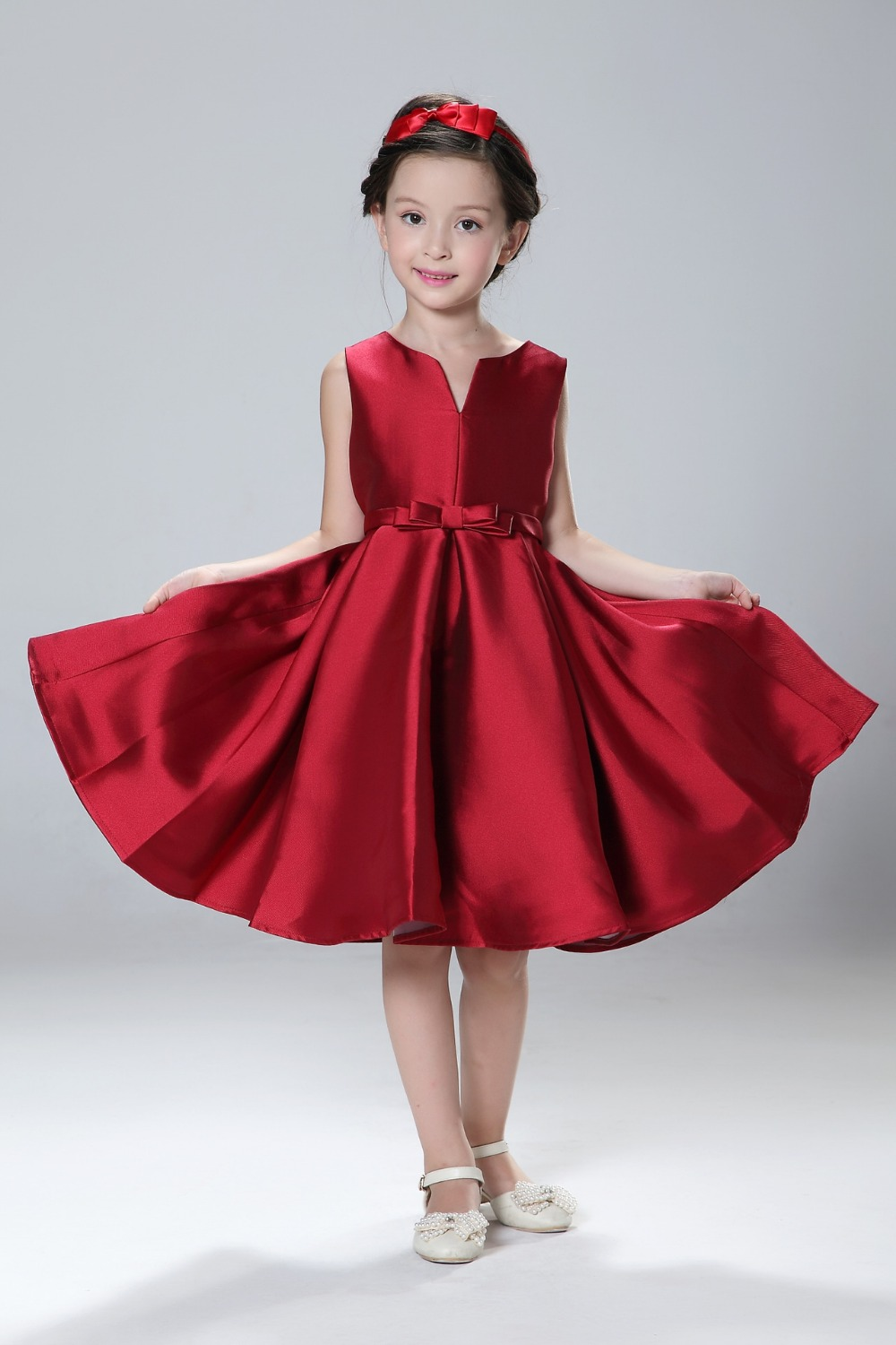 Hot Sale 2016  Girls Dress Sale red  New Arrival Costume Fashion Cotton and polyester  Children Party Clothes Ready In Stock<br>