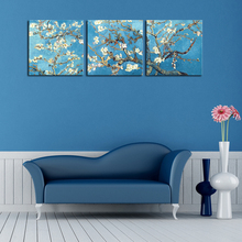 Unframed 3 Panels Painting Van Gogh branches of an almond tree in blossom Flower Canvas Wall picture Art Home Decoration poster