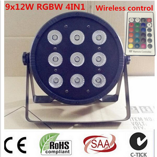 Wireless remote control LED Par CREE 9x12W 4in1 RGBW Led Stage Light LED Flat SlimPar Quad Can With DMX512 Flat DJ<br>