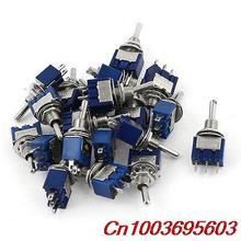 YOCOMYLY (TM) 20pcs AC125V 6A SPDT ON-OFF-ON 3 Pin Latching Miniature Toggle Switch(China)