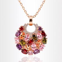 Round Colorful Pendant Necklace Fitting Womens Clothes Golden Clasp Charming Vogue Magazine Style Jewelry