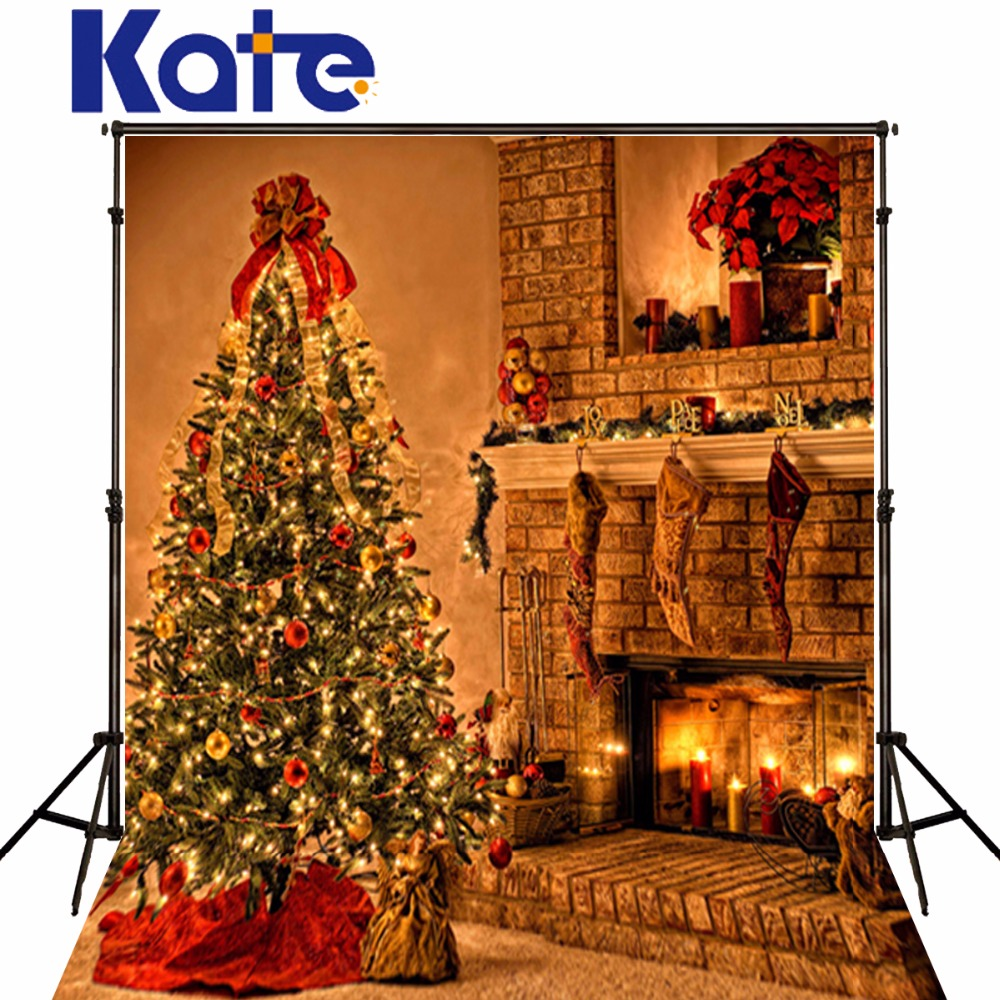 Christmas Photography Backdrops New Year Decoration Christmas Background Fireplace Tree Red Balls Photo Background For Photos<br>