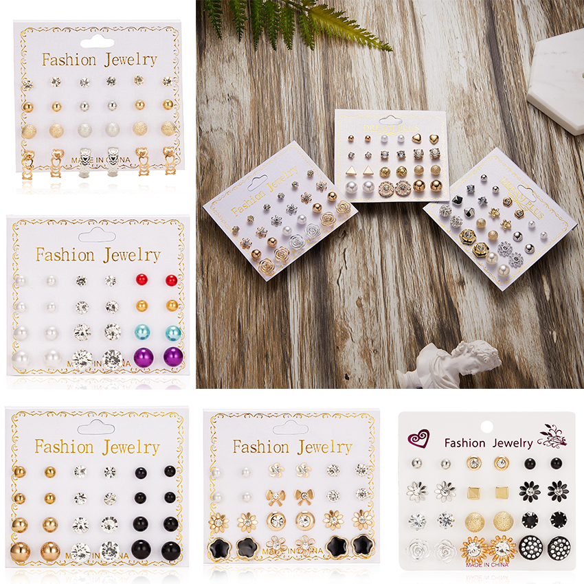 12 pairs/set of Pearl Flowers Bow Zircon Card Earrings Simple Fashion Multilayer Geometric title=