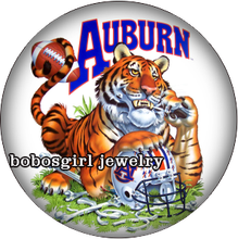 BG18017  AUBURN NCAA FOOTBALL  glass snap button for snap jewelry  Picture Pendant  33mm Coin for necklace BOBOSGIRL