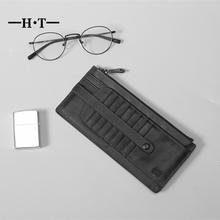 HT Long Design Card Holder Genuine Cow Leather ID Cards Cases Men Wallet Money Pockets Male Wallets Large Capacity Card Case(China)