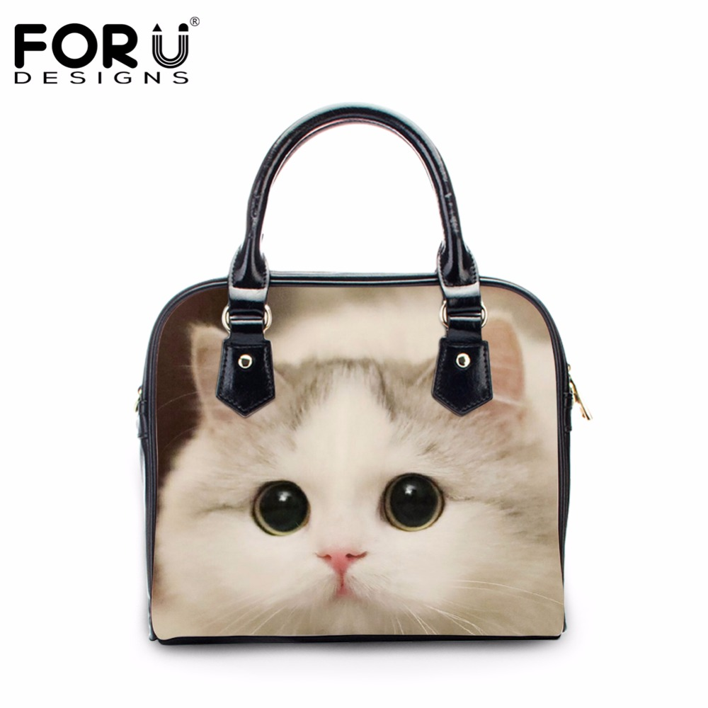 FORUDESIGNS Cute 3D Animal Cat Print PU Leather Tote Bags Woman Luxury Brand Casual Shoulder Bags for Women Crossbody Bags Mujer<br>