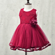 2017 autumn brand flowers girl dresses,lace rose Party Wedding Birthday baby dress,princess tutu elegant toddler girl clothing
