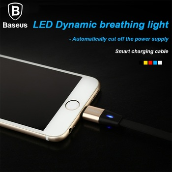 Baseus 1m / 1.5m USB Cable For iPhone 5 6 7 2.1A Fast Charging Cable with LED Breath Light Smart Cut Off Power 8Pin Charge Cable