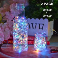 Solar Powered Copper Wire LED String Lights 200 LED Starry Rope Lights Indoor Outdoor Lighting Home Garden Christmas Decoration(China)