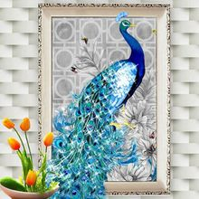 32*45cm Fashion Elegant DIY 5D  Rhinestone Diamond Embroidery Peacock Painting Cross Stitch Kits Home Decor Craft 2017 New Hot