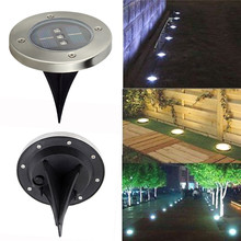 4 LED Solar Panel Underground LED Lamps for Graden Decoration Solar Power LED Light Outdoor Grass Underground Lamp Round