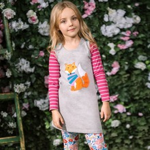 Kidsalon Baby Girl Dresses with Animal Applique 2017 Brand Princess Dress Kids Clothes Tunic Jersey Cotton Children Dresses