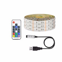 1Pcs USB Charger Supply 5050 RGB LED Strip light 5V 1M 2M 3M 4M 5M USB Cable Decor lamp String For PC LCD TV Background lighting(China)